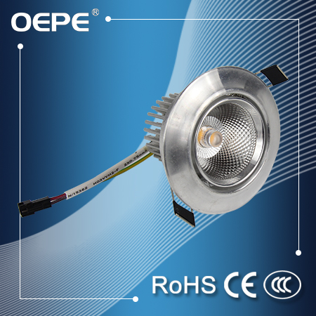 High lumen 90-100lm/w ceiling mounted cob led 5 w down light