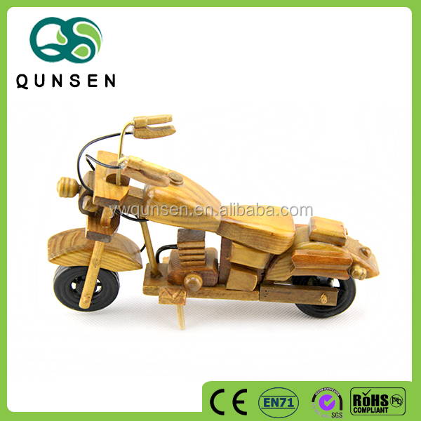 wholesale custom children toy old craft fine wooden toy motorcycle