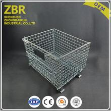 Low Price Stackable Steel Storage Bins Heavy Duty Folding Wire Container