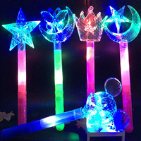 Flashing Princess Wand Fairy Magic Wand Big Moon Star Butterfly Flower Led Light Sticks Gift Concert Party Wedding