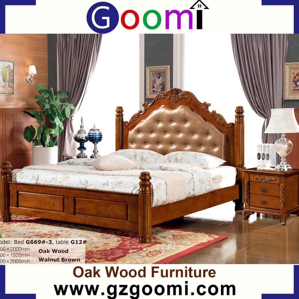 Goomi factory AmericanStyle G669# king size bed wood carving bedroom furniture