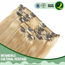 Grade 7A Wholesale Full Head Clip In Human Hair Extensions 16inch Blonde Color 613 100g Straight With Thick Ends