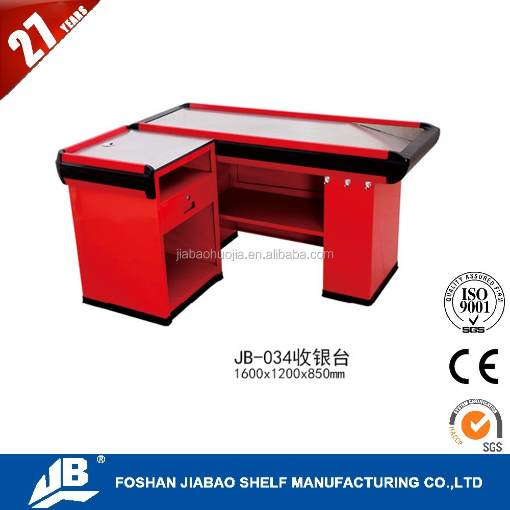 FOSHAN JIABAO orange supermarket cash checkout counter for sale