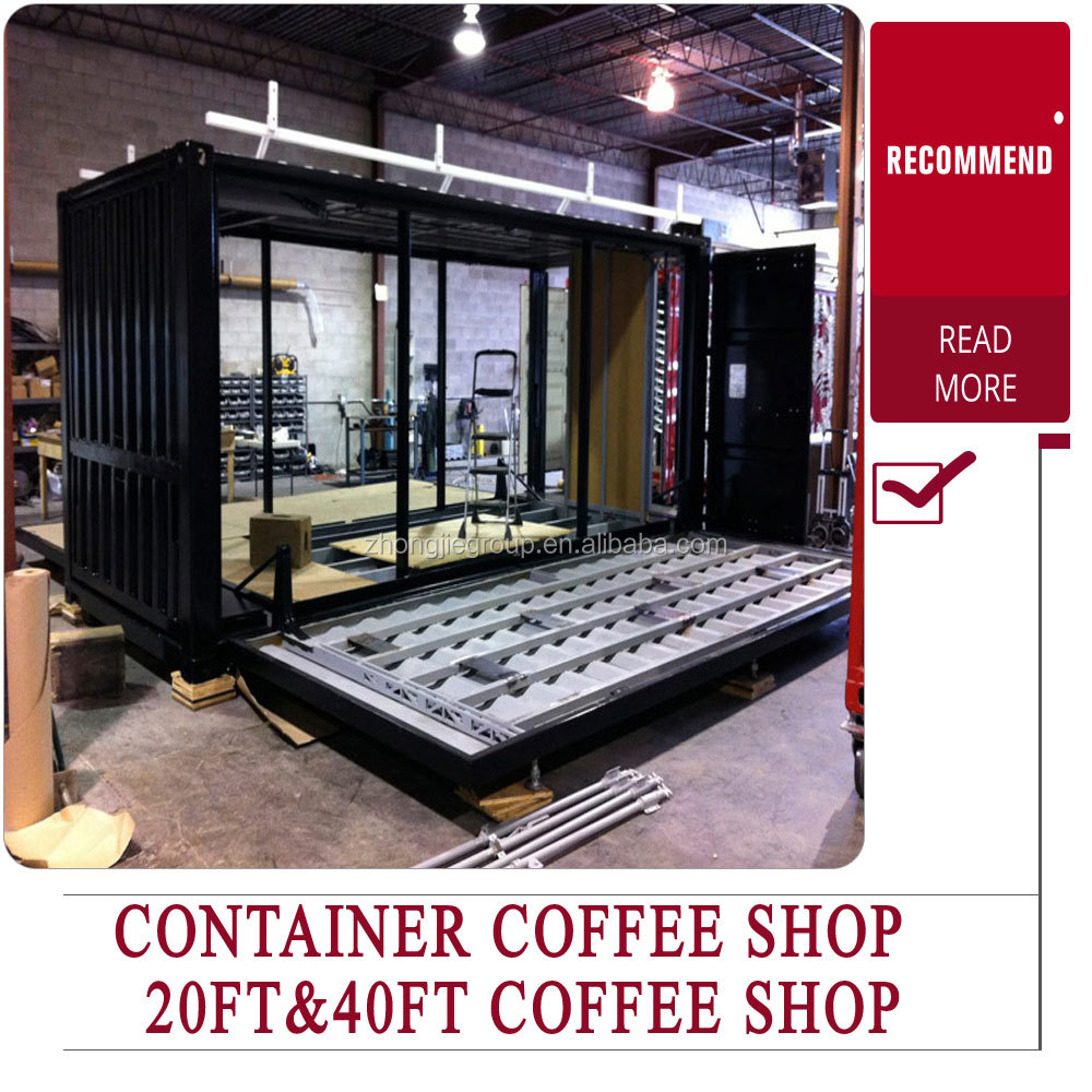 20ft/40ft modular container coffee shop with hydraulic