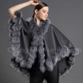 CX-B-P-22D Women Custom Shawl Fur Trimmed Cashmere Pashmina Shawl