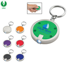 Cheap Souvenir Plastic Round 365-400nm Mini UV Led Light Torch Keychain, Led Flashlight Keychain