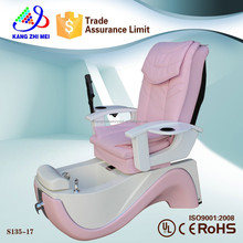 Beautiful pink color pedicure foot spa massage chair for commercial salon furniture (KM-S135-17)