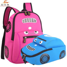 Waterproof neoprene Kids School Bag soft lightweight Casual fashion Car shape Backpacks 2015