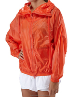 2016 high quality orange color rain jacket light weight wholesale OEM women trendy jacket