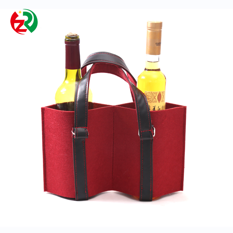 Christmas new arrrval cheap felt wine bottle bag/case leather wine bottle storage case