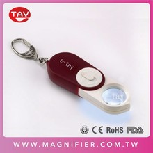 Pocket magnifying glass folding portable led mini magnifier key chain