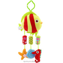 ocean animal plush baby stroller with plastic bell inside