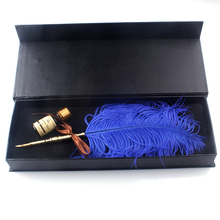 New Luxury Super Gift Feather Fountain Pen Set With Ink Pot