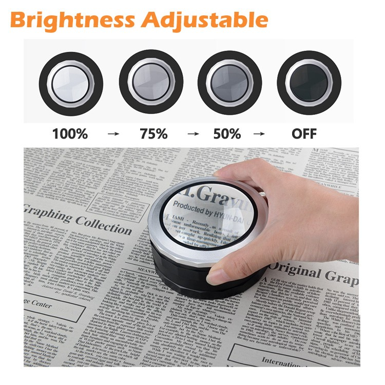 DH-86019 2017 Fashion New Design Good Quality Illuminating Dome Reading Magnifier,5 Magnification Led Desktop Magnifying Glass