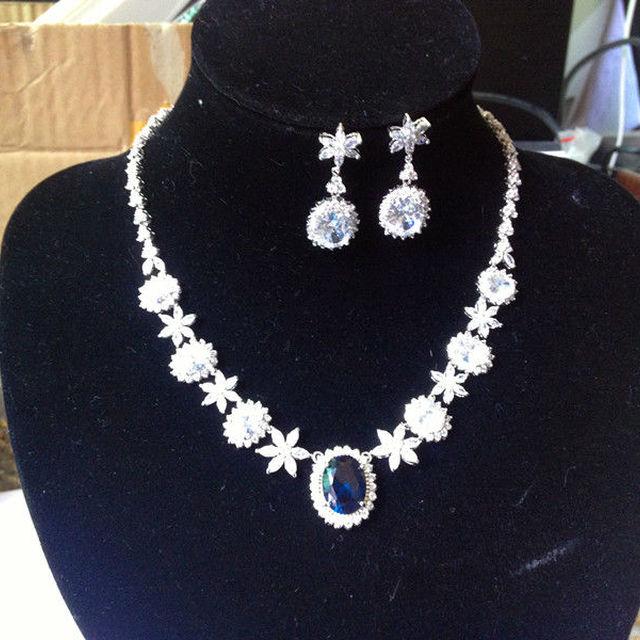 sapphire necklace earring set Cubic Zirconia Statement Bridal Neck Set