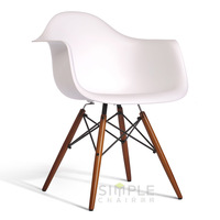 Modern PP plastic and wood dining table and chair