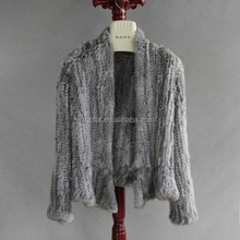 QC1019-7 chinchilla new collection real rabbit fur knit quality cardigan coat jacket