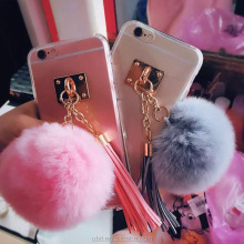 Newest Fashion Luxury Metal Rope Mirror TPU phone Cases Cute Rabbit Fur Ball For iPhone6 6S 6 Plus 5 5S Cover For