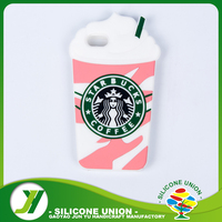 Hot selling pink coffee cup shaped silicone phone case