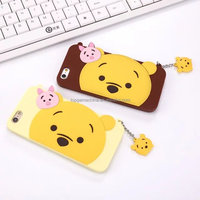 Cartoon Q version Donald Duck pooh pig For iPhone 6 Plus Silicone handbag case