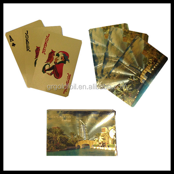 Printing On Index Cards: 999.9 Gold Playing Cards Gold Foil New Custom Print Index