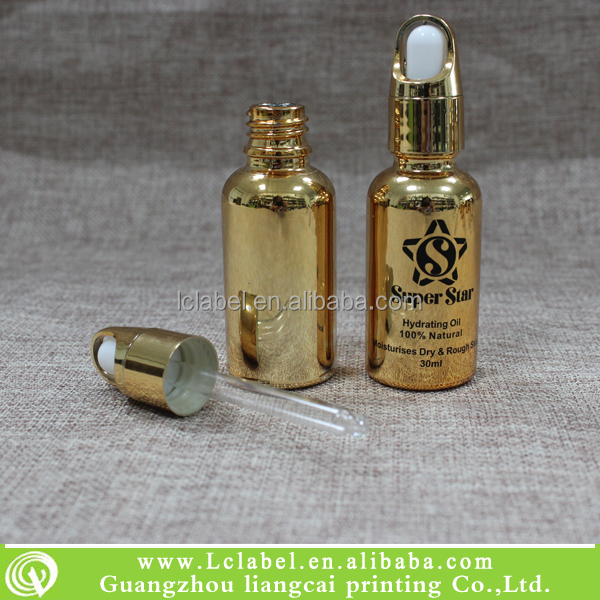 30ml gold electroplating essential oil bottle glass dropper bottle
