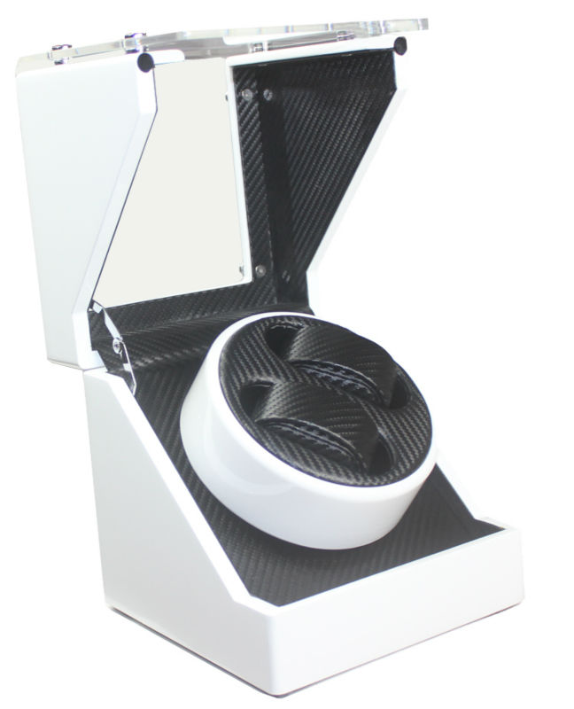 For California Warehouse Carbon Fiber &Toughened Glass Ultra-quiet Motor Wood Automatic Watch Winder for Automatic
