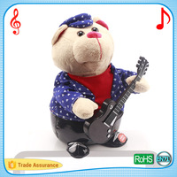 Plush bear with musical movements soft stuffed puppet animal toys
