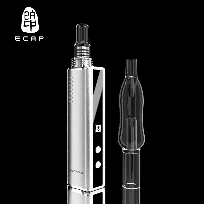 Patent vapor ecapple iv-1 dry herb electronic cigarette oval price with glass bubbler water filtrating pen vaporizer