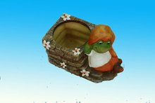 painted 3 inch terracotta square pot with cartoon frog