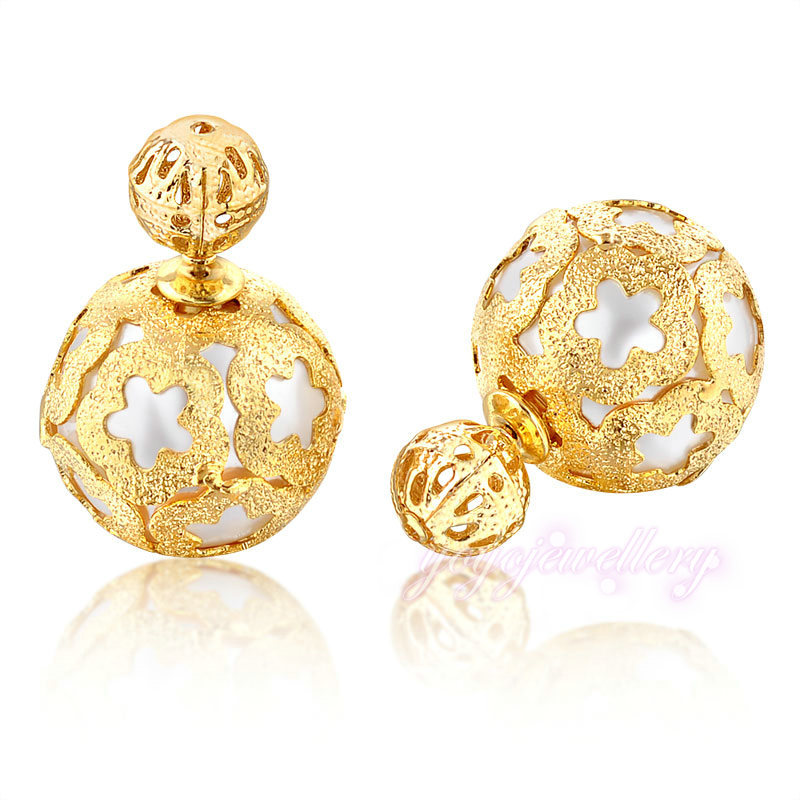 Dubai Gold Jewelry Double Sided Light Weight Gold Pearl Earring