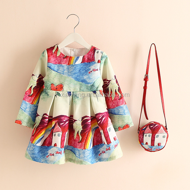 Sring autumn long sleeve one year baby party dresses in bangalore