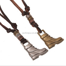 special cowboy style boots pendant leather necklace