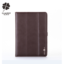 china supplier new design brown genuine leather tablet cover case for ipad air 1/2/3 with folded stand