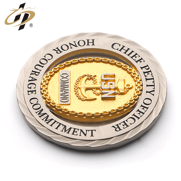 Personalized customization 3D hollow gold USN command souvenir medallion medal challenge coin