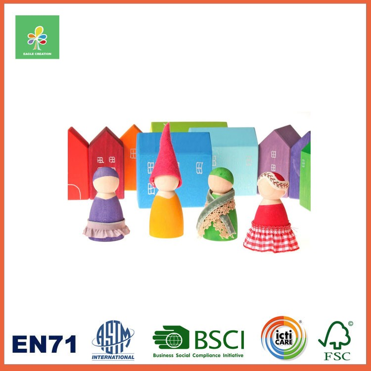 Wooden OEM 12 Pcs Rainbow Wooden Doll Foreign Kids Games Montessori New Toys for Kid 2016