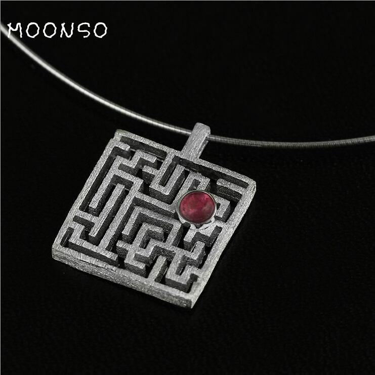 Wholesale 925 Sterling Silver Women's Fashion Jewelry Necklace Custom Original Maze Openwork Pendant AN3457S
