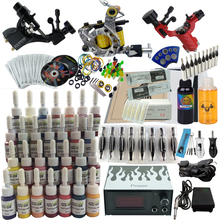 Complete Starter Learning Tattoo Kit 2 Machines 28 Tattoo Ink Power Supply Grip Tips DVD Tattoo Set KA03