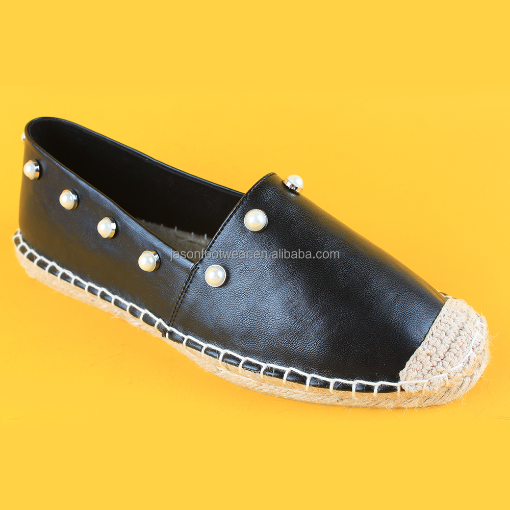 Womens fashion style black causal Pearl PU leather espadrilles shoes