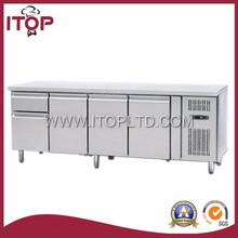GN 1/1, 4 doors stainless steel salad bar fridge