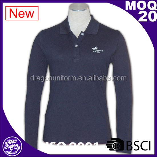 fashion navy blue long sleeved cotton embroidery fabric polo shirts