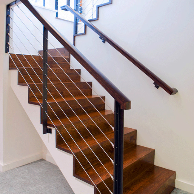 solid wood stair treads / glass railing wood stair PR-L1095