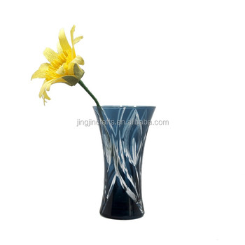 Japanese Edo Kiriko Hand Cut Gray-Blue Mini Glass Flower Vase Wholesale