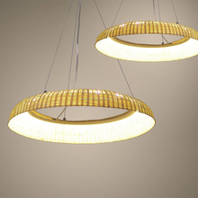 Round natural bamboo lighting woven chandeliers led pendant lamp