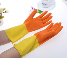 Cheap Bi-color Long Sleeve Household Rubber Glove Cleaning Household Latex Glove