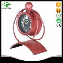 China Round Red Analog unique Table Clock With Stand