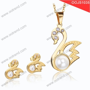 new arrival 2017 Mother of pearl ,18K gold swan pearl jewelry set