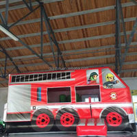 cheap big fire truck inflatable bounce house on promotion sales
