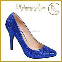 8mm women high heel shoes bule light PU evening shoes with acryl stone