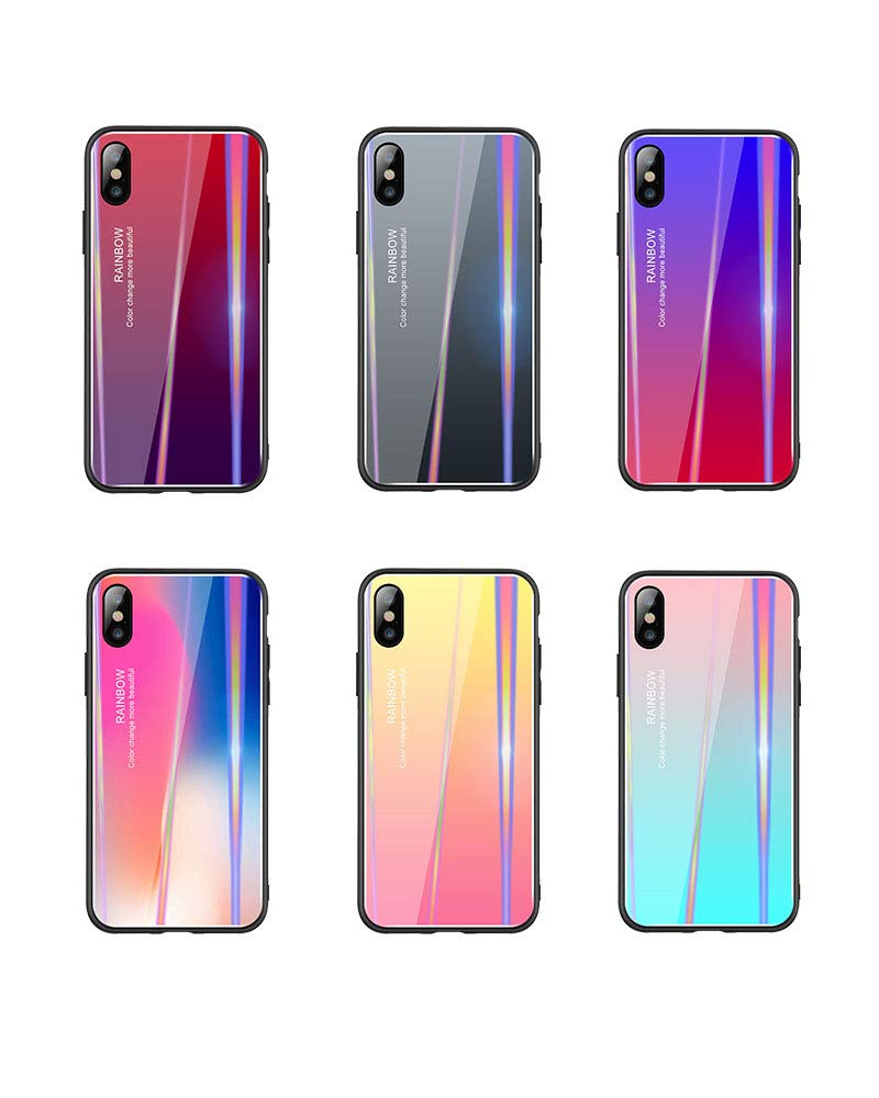 Aurora Rainbow Color Change 9H Tempered Glass Back Cover Soft Silicone Bumper <strong>Shock</strong> Absorption for iPhone XS MAX